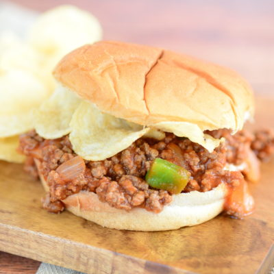 close up vertical shot of sloppy joe manwich