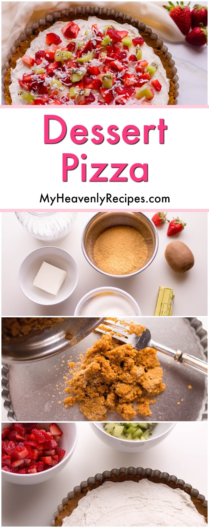 Looking for a super SIMPLE and EASY Dessert Pizza Recipe? Look no further! The hardest part to this tasty recipe is chopping the fruit and waiting for the crust to cool! Serve this beautiful dessert at your next party! #dessert #pizza #recipe #myheavenlyrecipes @heavenlyrecipe