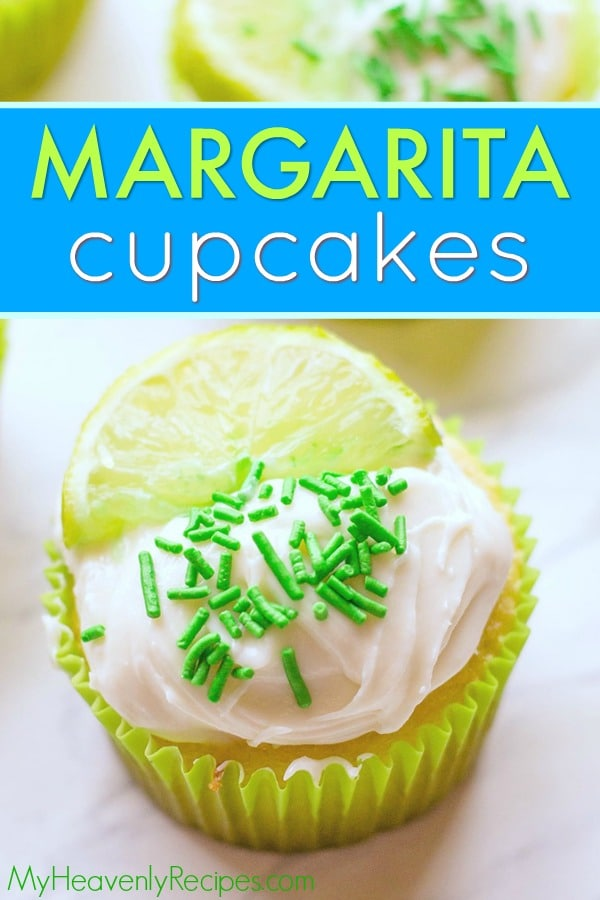 You will LOVE these delicious Margarita Cupcakes! They're lime- and tequila (optional)- infused cupcakes that are bursting with the fresh flavors of a Margarita. They're perfect Cinco de Mayo cupcakes! #margarita #margaritacupcakes #cincodemayo #cincodemayocupcakes