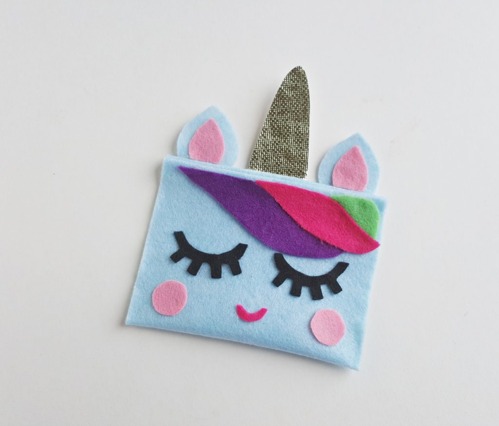 completed unicorn pencil case with all fabric glued