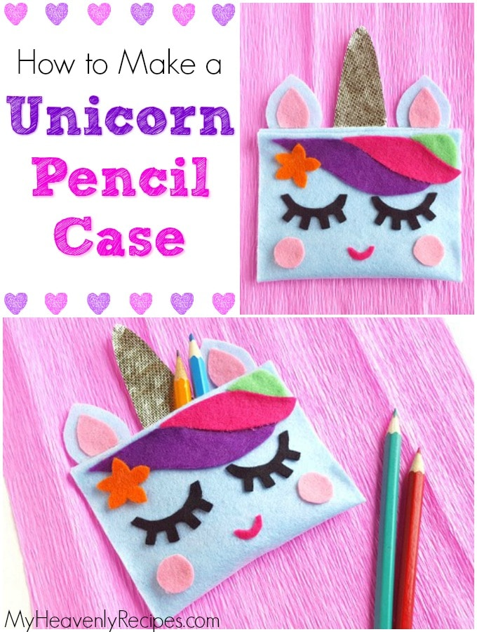 two photos of a unicorn pencil case on pink fabric next to pencils