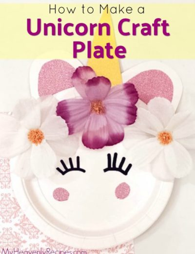 closeup of decorative unicorn craft plate with flowers glued on