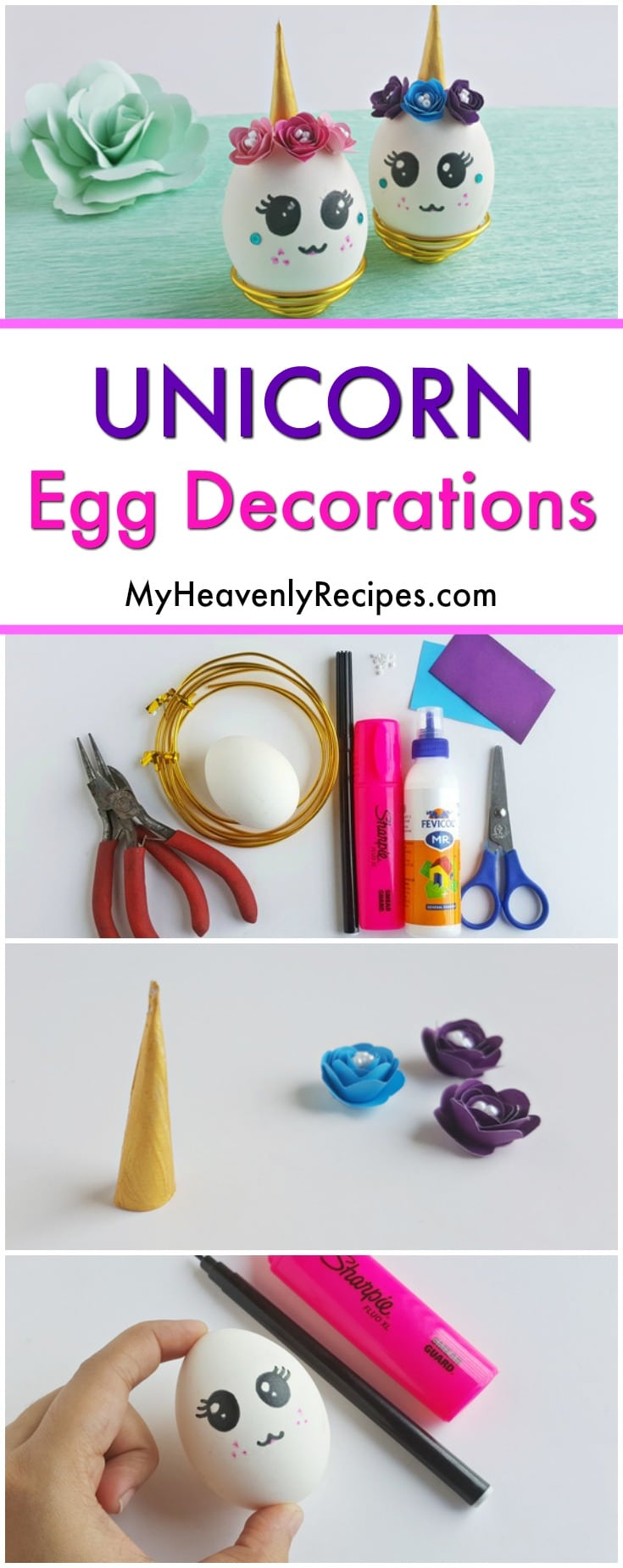 Get ready for an adorable DIY project that is PERFECT for your next unicorn birthday party! These Unicorn Egg Decorations are super fun to make and too cute for words. They're the perfect unicorn craft or unicorn decor project. #unicorn #unicorncrafts #unicornparty #diy #crafts