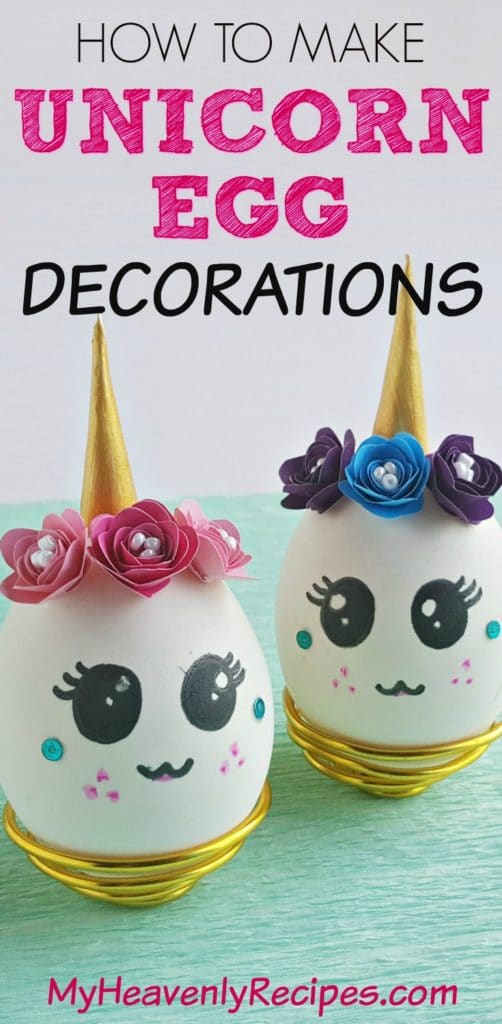 unicorn egg decorations on blue paper