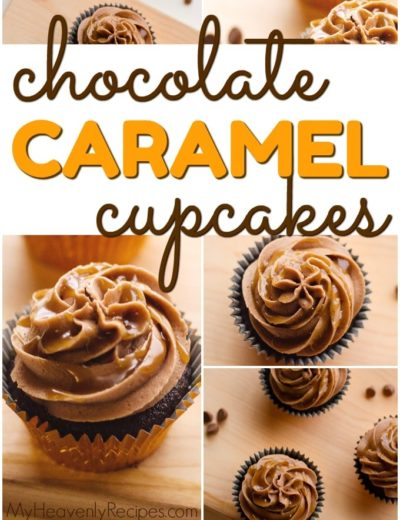 collage of caramel cupcakes on a wooden background