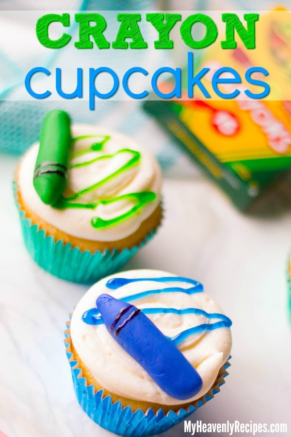 Want a fun cupcake recipe? Or how about a summer cupcake recipe, back-to-school cupcake recipe, or just a kids birthday party cupcake recipe? Try these Crayon Cupcakes! They're seriously cute and seriously fun to make. #cupcakes #cupcakerecipe #easycupcakes