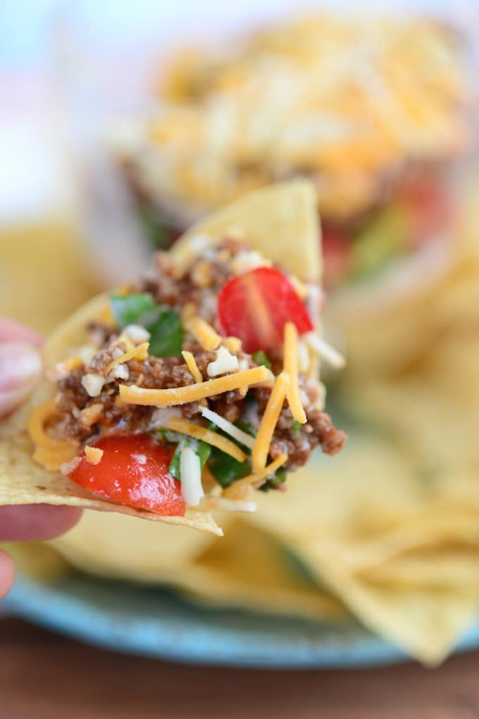This recipe for Taco Salad Dip is SO easy, you'll be done in just a few minutes! Apart from cooking the meat for this recipe, it's all pretty much a matter of assembling it.