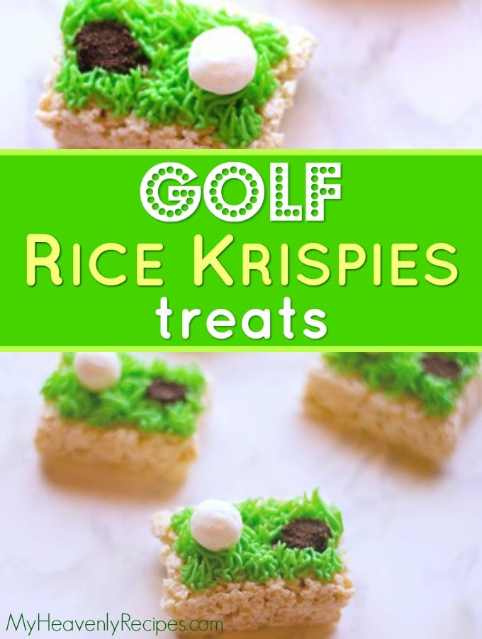 overview of rice krispies golf treats on a countertop