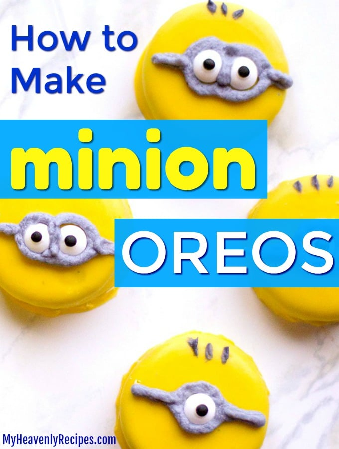 four minions oreos on a countertop with text overlay
