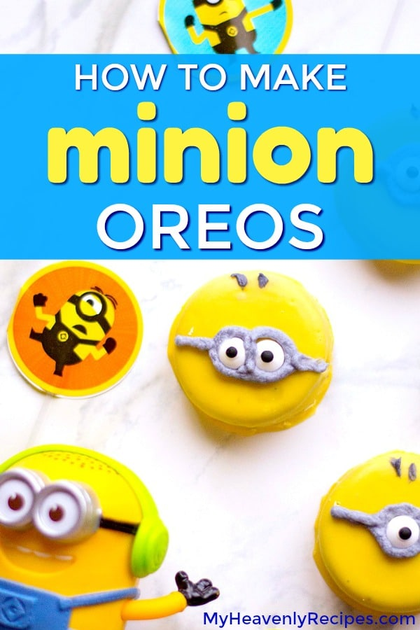 These adorable Minion Oreos make for the perfect kid-friendly recipe for parties or a kid-friendly dessert recipe! Serve them at a Minions birthday party or just a fun get-together. You'll love this easy Oreos recipe! #minions #oreos #birthdayparty #nobake