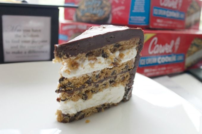 slice of graduation cake on white serving platter