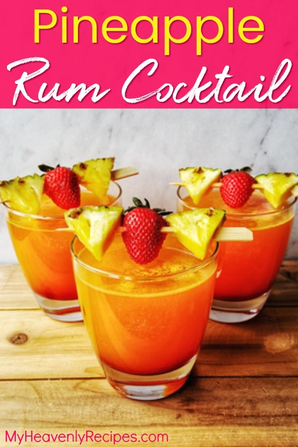 This Pineapple Rum Cocktail is THE summer cocktail recipe! It's a pineapple cocktail, strawberry cocktail, mango cocktail, AND coconut cocktail! An easy cocktail made with ingredients you probably already have in your pantry. #cocktails #cocktailrecipe #summercocktail #easycocktail
