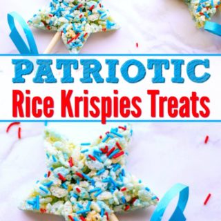 overhead view of patriotic rice krispies treats on sticks with blue ribbons