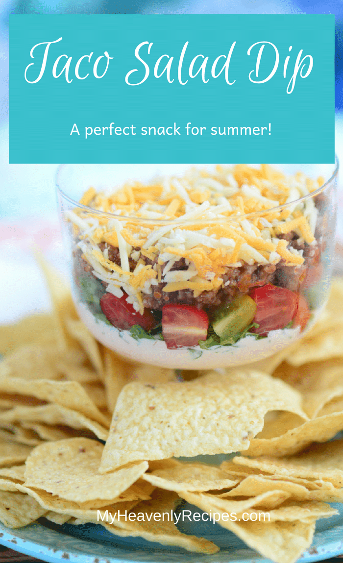 Taco Salad Dip - Keep things fun and simple at the dinner table with some yummy Taco Salad Dip! This makes for a solid go-to recipe for quick snacks and lunches the whole family can enjoy on any day of the week. #MyHeavenlyRecipes #Game Day #Appetizer #EasyRecipe #Dips #SuperBowl #Tailgating