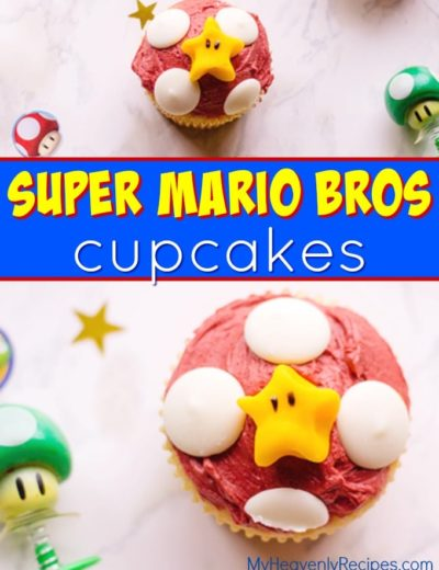 overhead view of two super mario cupcakes with super mario trinkets around