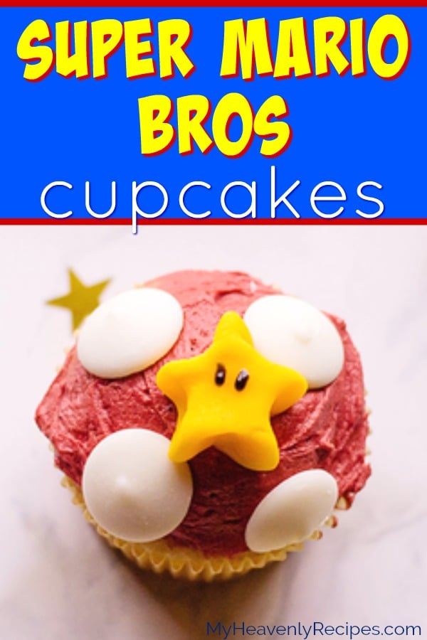 These Super Mario Cupcakes will be the talk of the party! Great for kids birthday parties, Super Mario video game parties, or just for the fun of it, this is a surprisingly easy cupcake recipe. #supermario #mario #cupcakes #cupcakerecipe