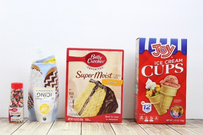 ingredients lined up to be used in ice cream cone cupcakes