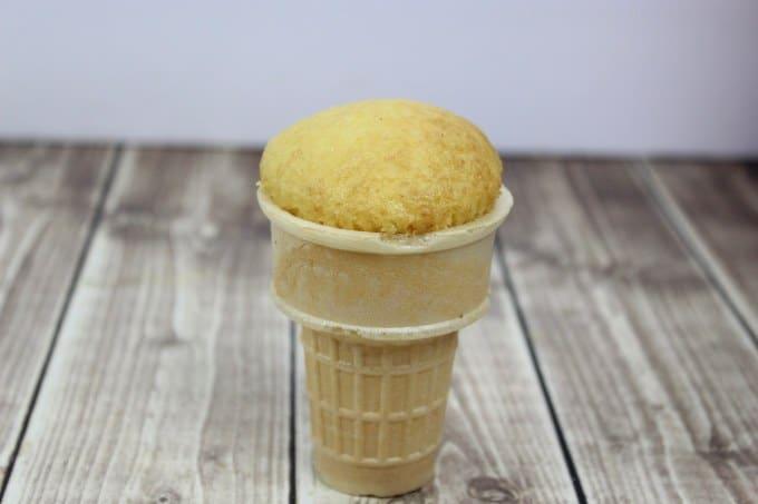 ice cream cone cupcake placed into a ice cream cone