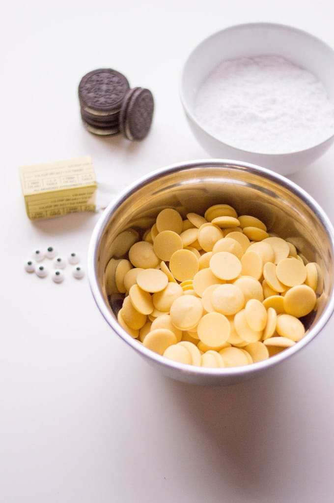 ingredients laid out on a countertop to be used in minion oreos