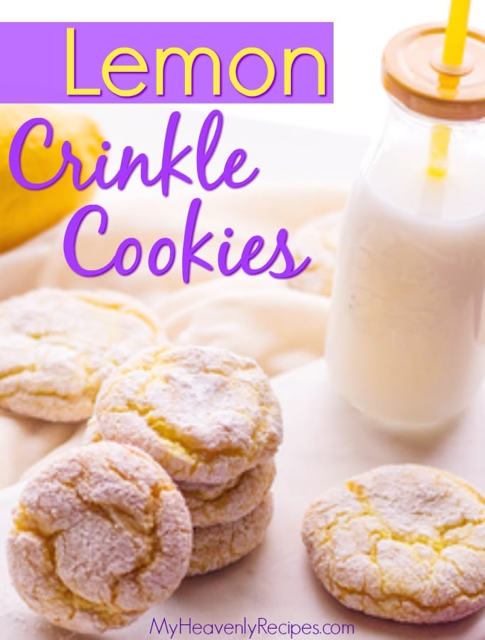 lemon crinkle cookies stacked next to a bottle of milk on a white table