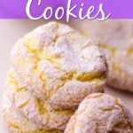 close up of lemon crinkle cookies with text overlay