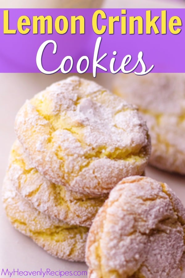 These Lemon Crinkle Cookies are a delicious lemony treat the whole family will love! Plus, they're a gorgeous cookie recipe that is surprisingly easy to make. An easy dessert recipe and easy cookie recipe! #cookies #cookierecipe #dessert #dessertrecipe