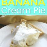 white plate with banana cream pie and yellow napkin