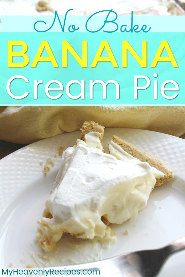 Want a yummy no bake dessert recipe? Try this No Bake Banana Cream Pie recipe! It's a family favorite recipe that takes just minutes to make. When I pull this No Bake Banana Cream Pie out to serve friends and family, they instantly ask for the recipe. It's oh so easy to make and hits the spot! #pie #nobake #easydessert #dessert