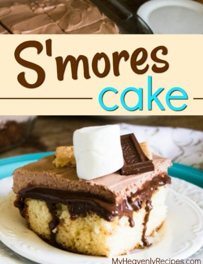 closeup of smores cake with marshmallow on top on white plate