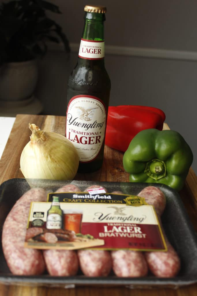 smithfield yuengling brats with peppers onions and yuengling beer