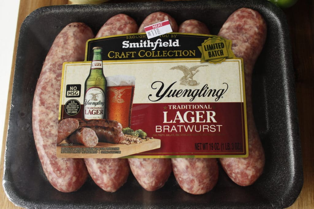 yuengling traditional lager bratwurst in package