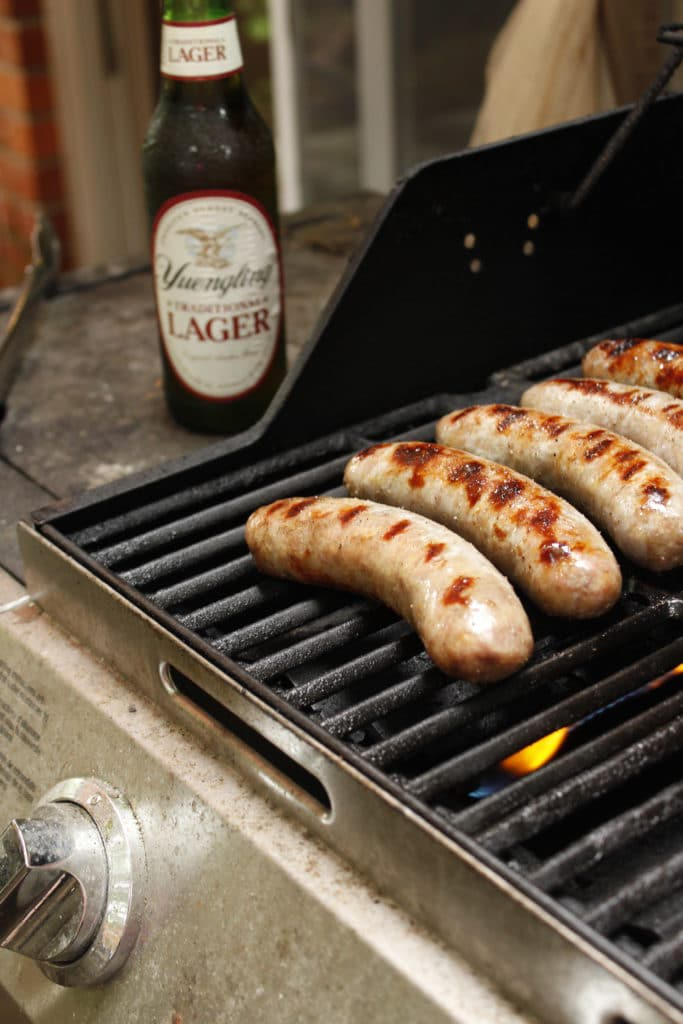yuengling beer and brats on grill