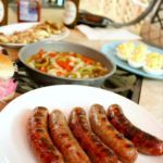 beer smothered brats and veggies featured image