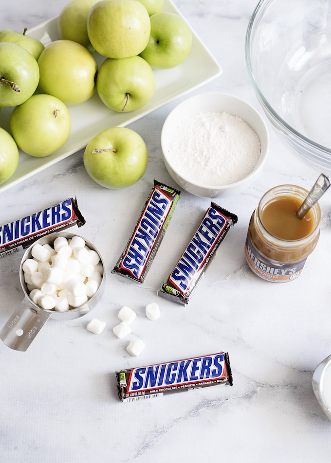 Ingredients for the best Caramel Apple Snickers Salad.