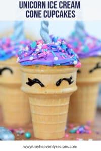 close up featured image for unicorn ice cream cone cupcakes