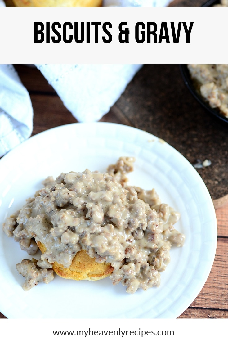 This is hands down the BEST Biscuits and Gravy Recipe! There's nothing better than comfort food. Biscuits and Gravy is a Sunday morning tradition is our house. I hope you'll give this recipe a try this week! #breakfast #recipe #biscuits #gravy #myheavenlyrecipes