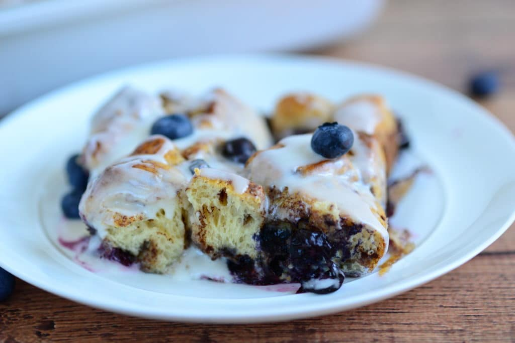 upclose shot blueberry french toast bake