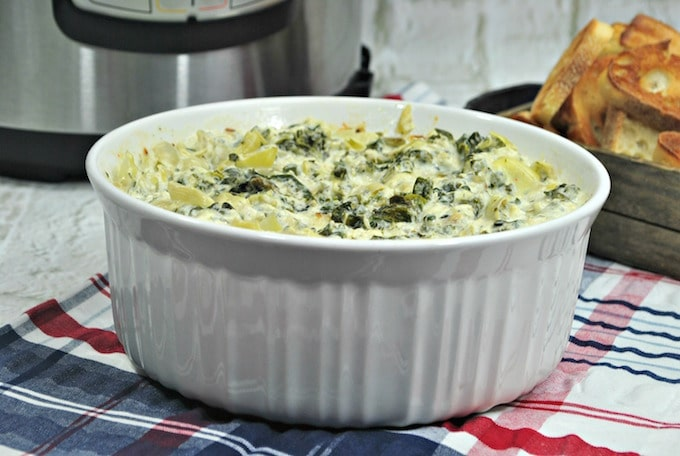 Instant Pot Spinach Artichoke Dip is a convenient and healthy way to eat for the holidays.