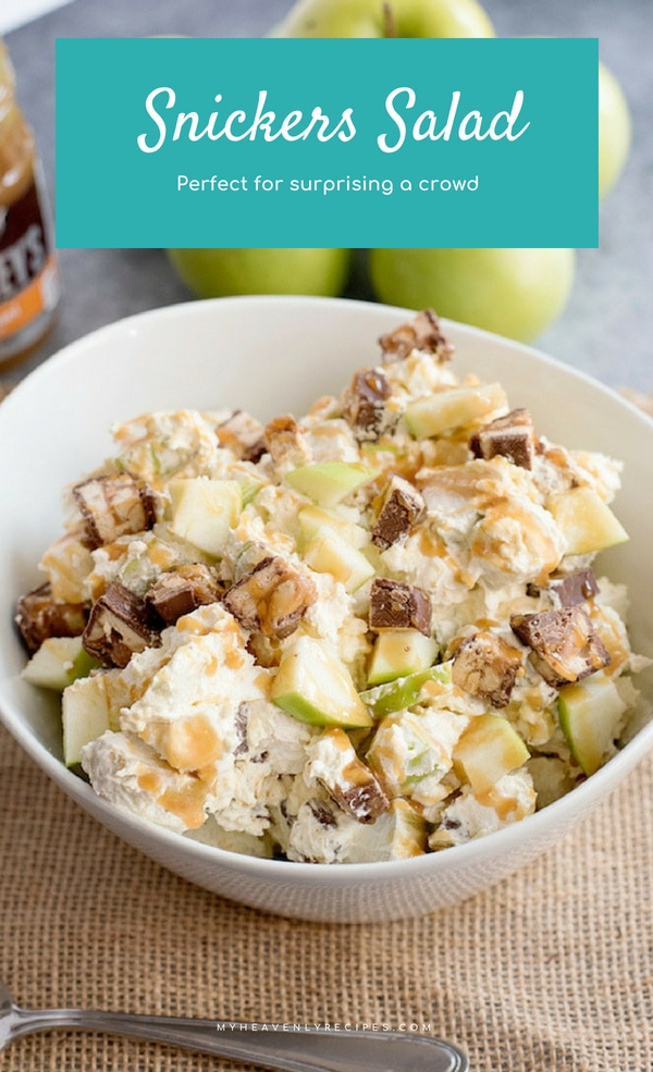 This Caramel Apple Snickers Salad will make ya wanna dance while you are eating this deliciousness! Serve it up at a party and your guests will go crazy. Maybe surprise the kids after school with this as a sweet treat and they'll clean their room! #dessert #apple #caramel @heavenlyrecipe