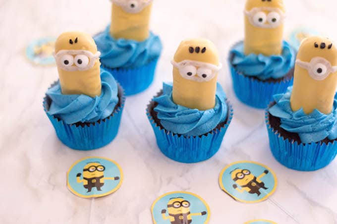 Draw goggles using your black frosting then top your cupcake with a Minion.