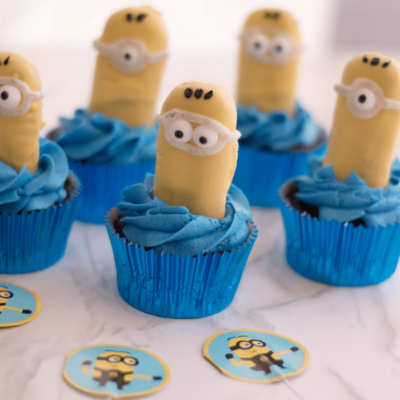 These Minion cupcakes are a fun and easy to make treat for a party.
