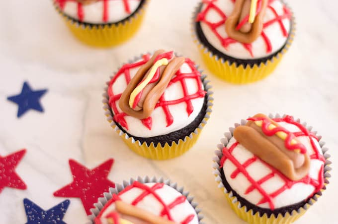 These hot dog cupcakes are fun treats for parties.