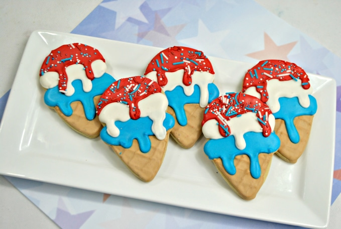 Red, white, and blue ice cream cone sugar cookies made with royal icing