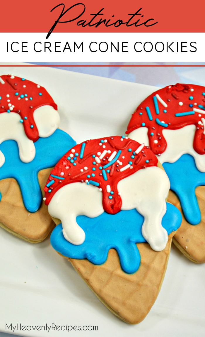 This recipe for Patriotic Ice Cream Cone Cookies will easily become part of your patriotic summer traditions. The royal icing makes them so impressive, and they're surprisingly easy to make. Your kids will be looking forward to these every year – and you'll want to make them for every occasion! #cookies #diy #party #holiday #patriotic #royalicing #fun #dessert