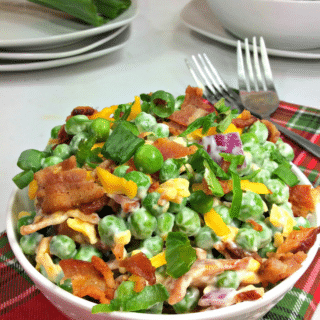 This healthy pea salad is one for the books. It's delicious and easy to put together!