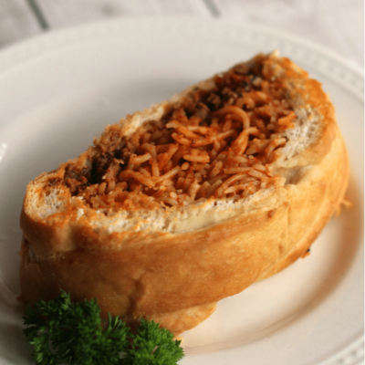 Spaghetti Stuffed Garlic Bread