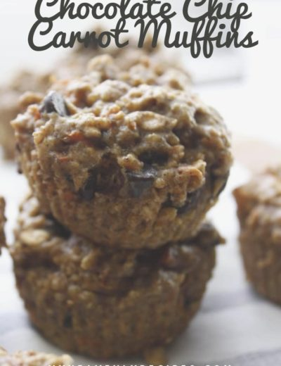 chocolate chip carrot muffins stacked