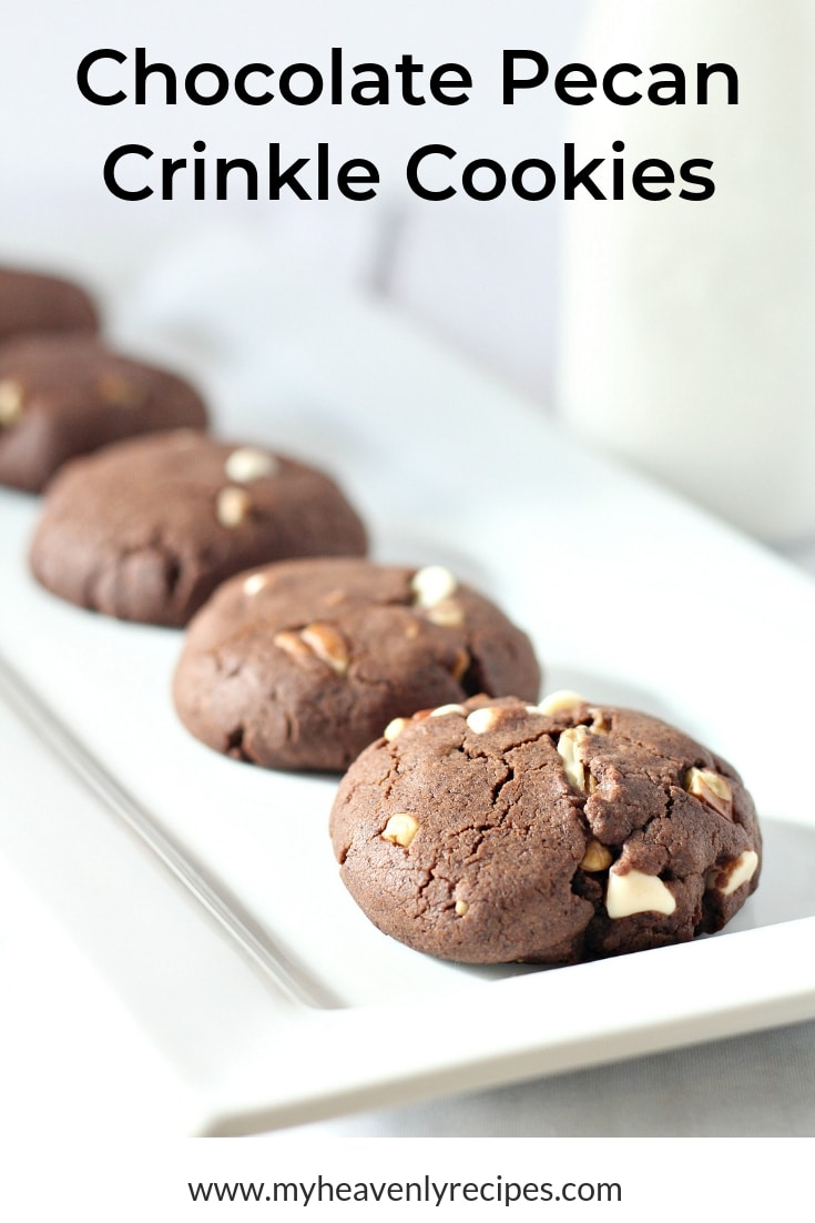 These Chocolate Pecan Crinkle Cookies may require some time before getting to eat them, but they are totally worth the wait! #MyHeavenlyRecipes #Cookies #Chocolate #Desserts