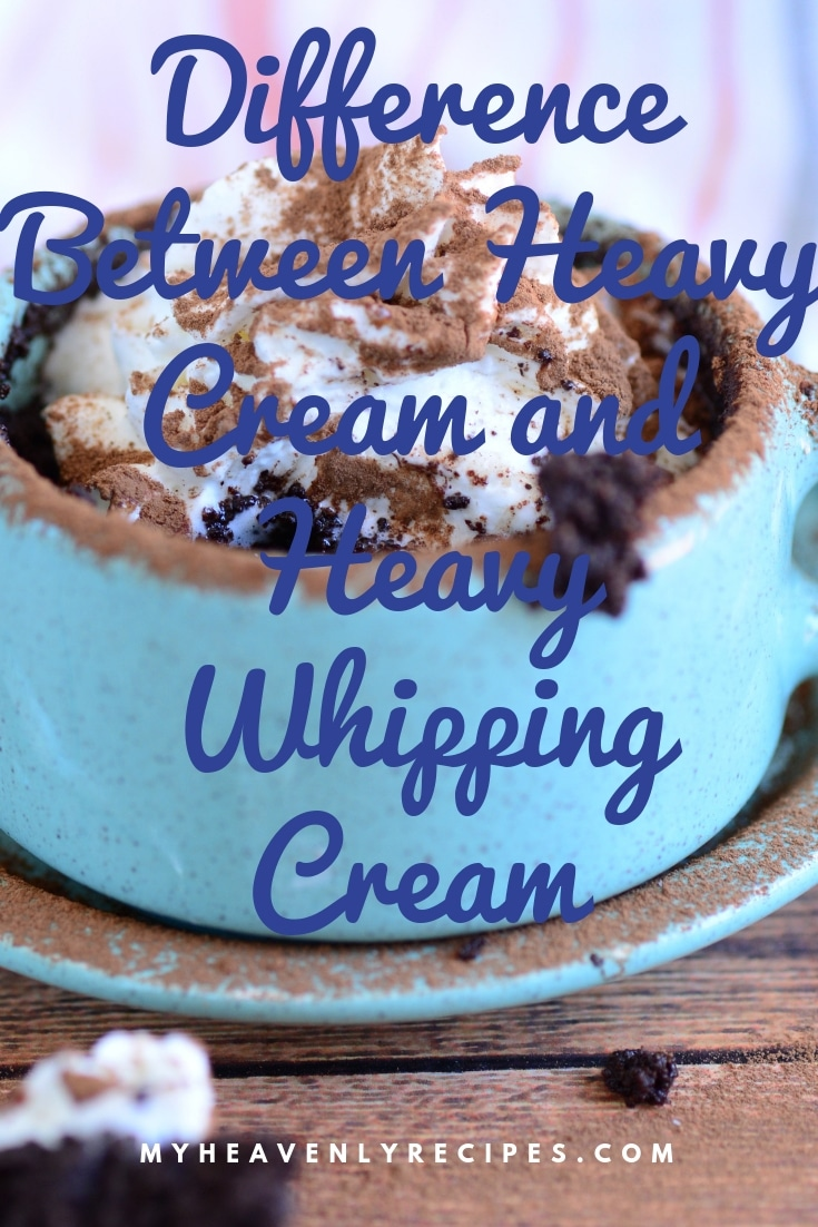 Find out the true differences, how you can subtitute and everything else you need to know when it comes to knowing the Difference Between Heavy Cream and Heavy Whipping Cream. #baking #dessert #recipes @heavenlyrecipe