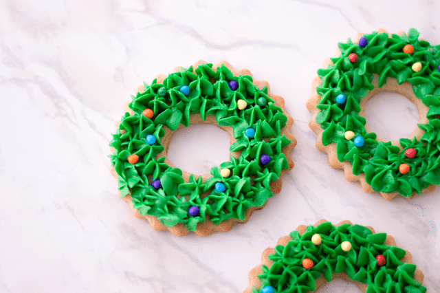 Christmas Wreath Cookies with white background